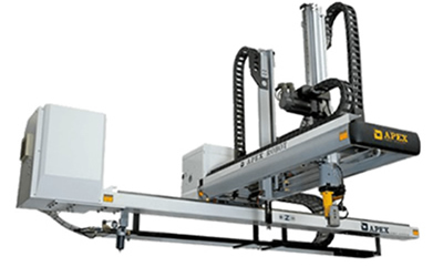 Apex take-out robots for plastics injection moulding machines